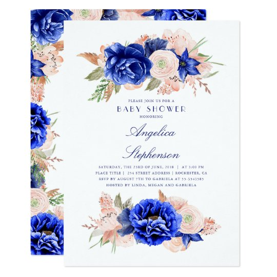 Navy and Pink Floral Elegant Baby Shower Card