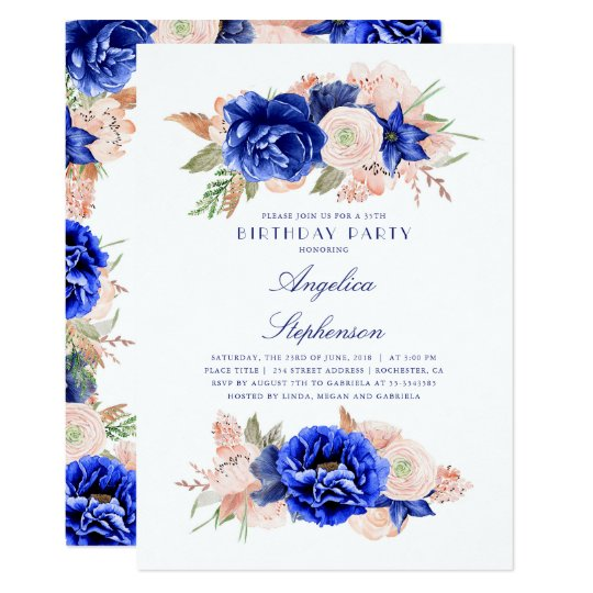 Navy and Pink Floral Elegant Birthday Party Card