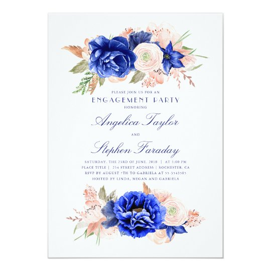 Navy and Pink Floral Elegant Engagement Party Card