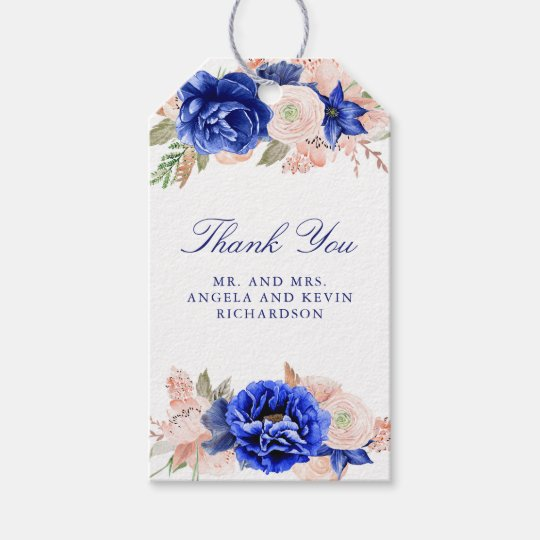 Navy and Pink Floral Watercolor Wedding Gift Tags