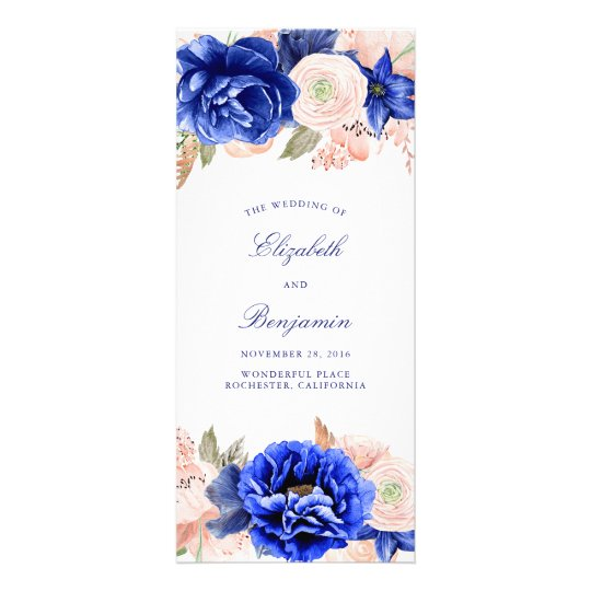 Navy and Pink Floral Wedding Programs Rack Card