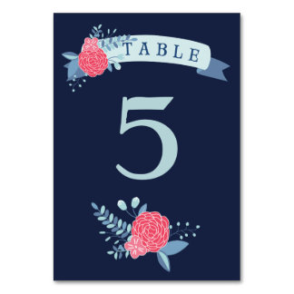 Navy and pink floral wedding table number cards table card