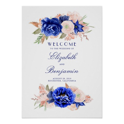 Navy and Pink Floral Wedding Welcome Sign