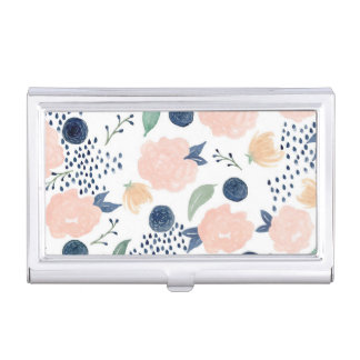 Navy and Pink Flowers Business Card Holder