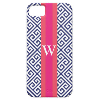 Navy and Pink Greek Key Monogram iPhone 5 Cover