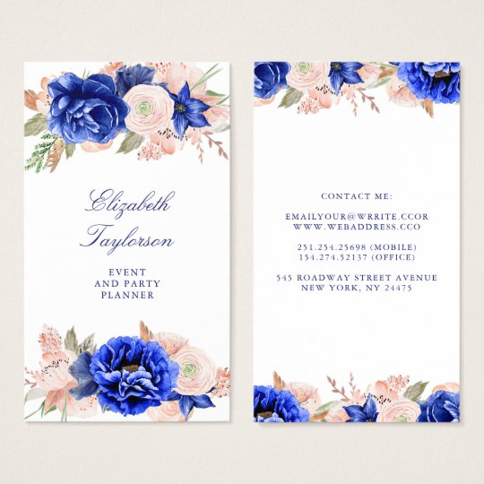 Navy and Pink Watercolor Flowers Elegant Modern Business Card