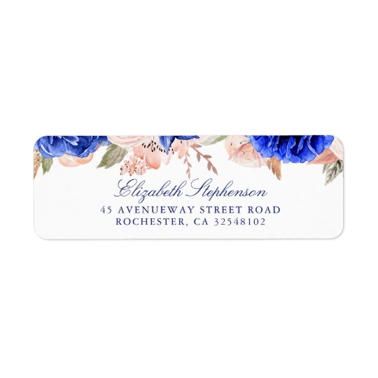 Navy and Pink Watercolor Flowers Elegant Return Address Label