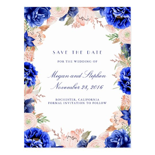 Navy and Pink Watercolor Flowers Save the Date Postcard