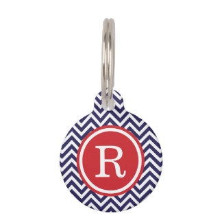 Navy and Red Chevron Monogram Pet Tag