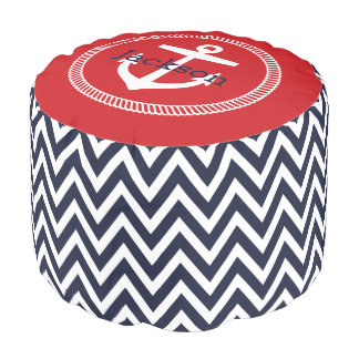 Navy and Red Nautical Chevron Anchor Monogram Pouf