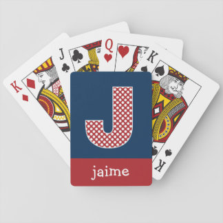Navy and Red Polka Dots with Monogram Letter J Playing Cards