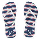 Navy and Red Summer Stripe Monogram Thongs
