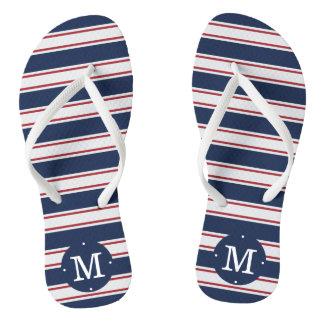 Navy and Red Summer Stripe Monogram Thongs