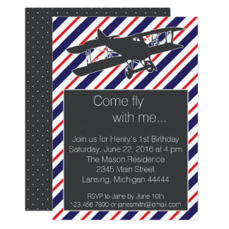 Navy and Red Vintage Airplane Birthday Invite