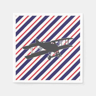 Navy and Red Vintage Biplane Airplane Napkins Disposable Serviette