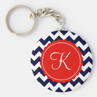 Navy and Red Zig Zag Custom Initial Key Ring