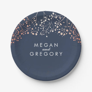 Navy and Rose Gold Baby's Breath Wedding Paper Plate
