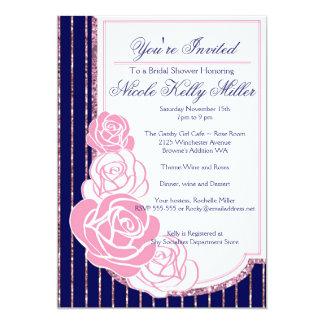 Navy and Roses Art Nouveau 13 Cm X 18 Cm Invitation Card