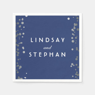 Navy and Silver Confetti Dots Wedding Paper Napkins