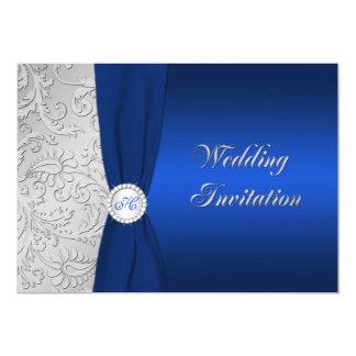 Navy and Silver Damask Monogram Wedding Invitation