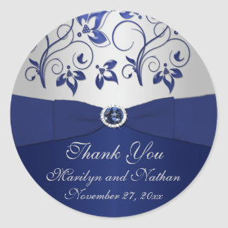 """Navy and Silver Floral 1.5"""" Thank You Sticker"""