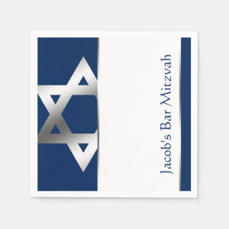 Navy and Silver Star of David Bar Mitzvah Paper Napkins