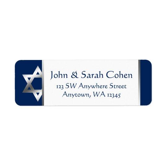 Navy and Silver Star of David Return Address Return Address Label