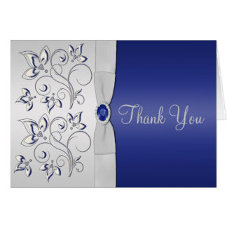 Navy and Silver Thank You Card