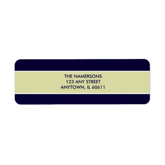 Navy and Tan Return Address Label