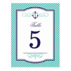 Navy and Teal Nautical Wedding Table Number Cards
