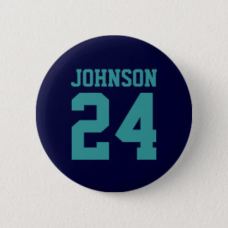 Navy and Teal School Spirit Personalized Team 6 Cm Round Badge