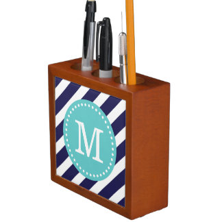 Navy and Turquoise Preppy Stripes Custom Monogram Desk Organiser
