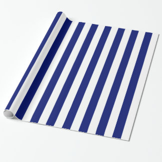 Navy and White Bold Stripes Wrapping Paper
