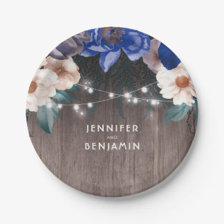 Navy and White Floral Rustic Wood String Lights Paper Plate