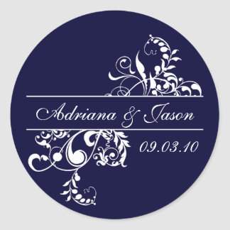 Navy and White Flourish Monogram Sticker
