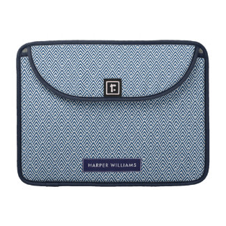 Navy and White Geometric Pattern with Custom Name Sleeve For MacBook Pro