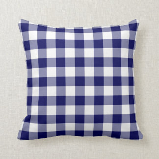 Navy and White Gingham Pattern Cushion
