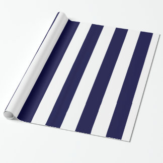 Navy and White Huge Stripe Pattern H Wrapping Paper