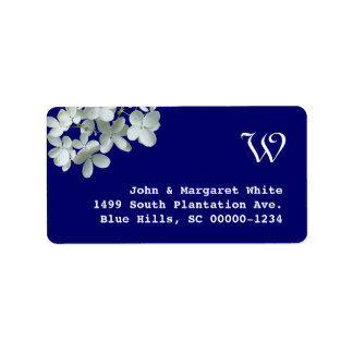 Navy and White Hydrangea Monogram Address Label