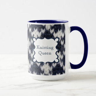 Navy and White Knitting Queen Mug