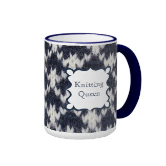 Navy and White Knitting Queen Coffee Mugs