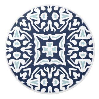 Navy and White Mediterranean Tile Pattern Ceramic Knob