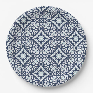 Navy and White Mediterranean Tile Pattern Paper Plate