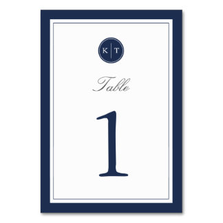 Navy and White Monogram Table Number Card