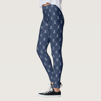 Navy and White Nautical Anchor Pattern Leggings