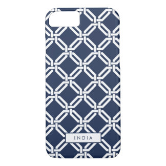 Navy and White Octagon Link Pattern iPhone 8/7 Case