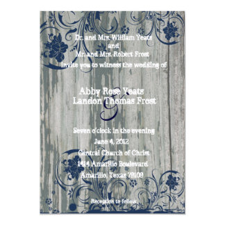 Navy and White Old Wood Wedding Invitation