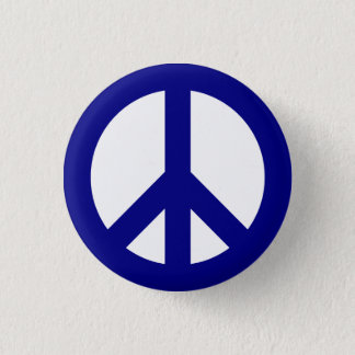 Navy and White Peace Symbol Button