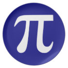 Navy and White Pi Symbol Plate