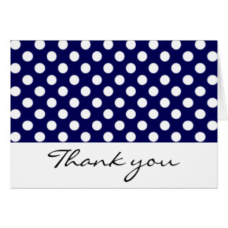 Navy and White Polka Dot Thank You Notes